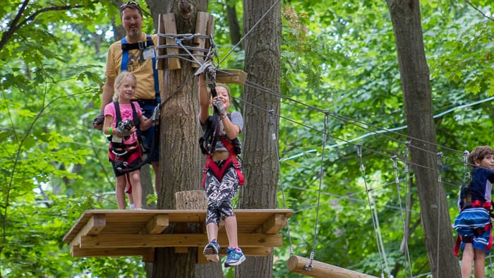 Family at adventure park