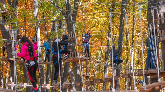Group of the ropes course in the fall
